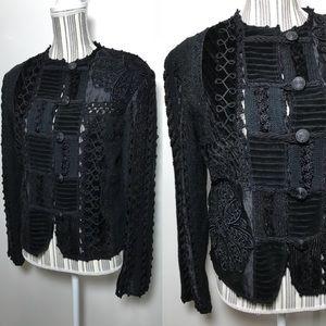 Vintage velvet embroidered patchwork jacket